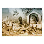Vintage Lithograph of animals. Greeting Card