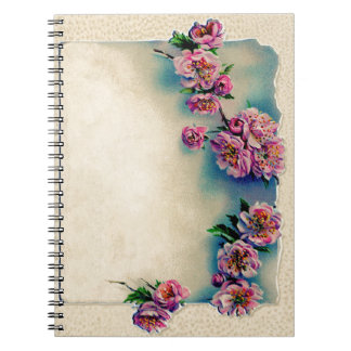 Vintage Lithograph of Cherry Blossoms; Spring Note Books