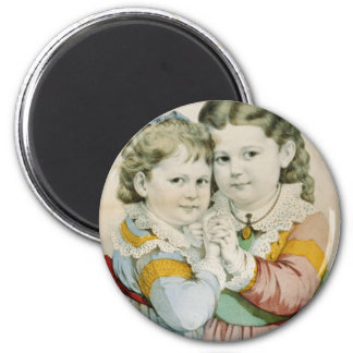 Vintage Lithograph of Two Sisters 2 Inch Round Magnet