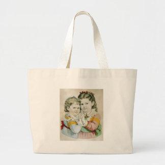 Vintage Lithograph of Two Sisters Jumbo Tote Bag