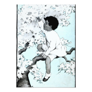 Vintage litle girl  Climbing Tree Card