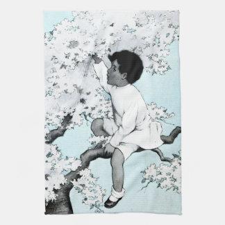 Vintage litle girl  Climbing Tree Kitchen Towels