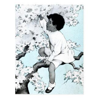 Vintage litle girl  Climbing Tree Postcard