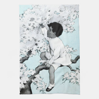 Vintage litle girl  Climbing Tree Towels