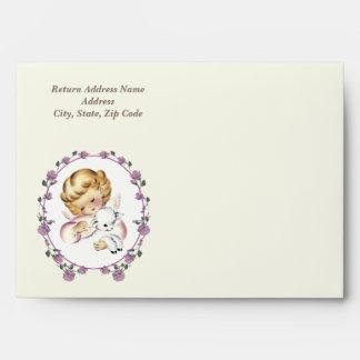 Vintage Little Angel with Lamb Custom Envelopes