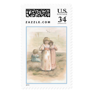 "Vintage ""Little Beachcombers"" Postal Stamp"