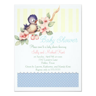 Vintage Little Bird Baby Shower Card