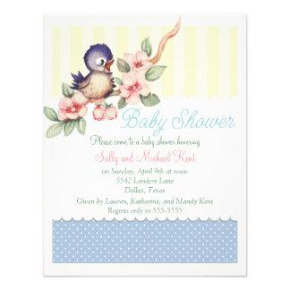 Vintage Little Bird Baby Shower Custom Invitations