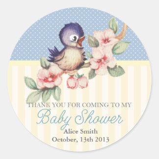Vintage Little Bird Baby Shower Personalized Favor Classic Round Sticker