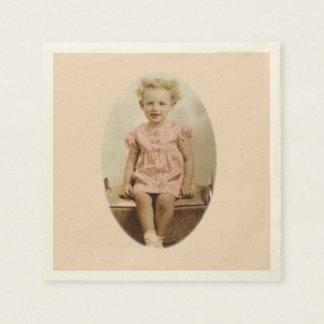 Vintage little blonde girl in pink dress napkins