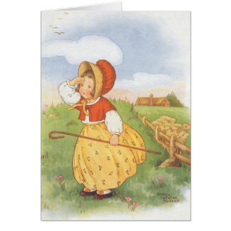 Vintage Little Bo Peep Mother Goose Nursery Rhyme Card