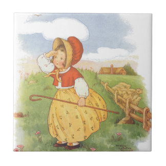 Vintage Little Bo Peep Mother Goose Nursery Rhyme Ceramic Tile
