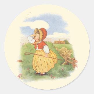 Vintage Little Bo Peep Mother Goose Nursery Rhyme Classic Round Sticker