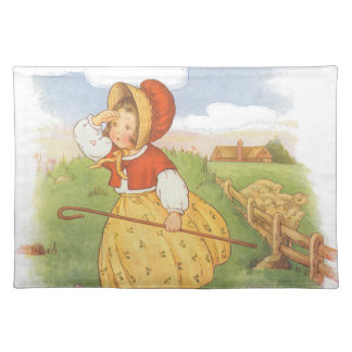 Vintage Little Bo Peep Mother Goose Nursery Rhyme Cloth Placemat