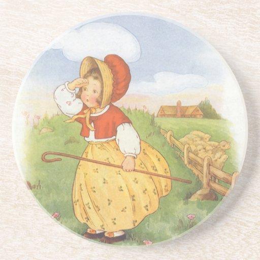 Vintage Little Bo Peep Mother Goose Nursery Rhyme Coasters