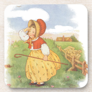 Vintage Little Bo Peep Mother Goose Nursery Rhyme Coaster