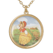 Vintage Little Bo Peep Mother Goose Nursery Rhyme Gold Plated Necklace