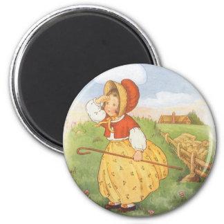 Vintage Little Bo Peep Mother Goose Nursery Rhyme 2 Inch Round Magnet