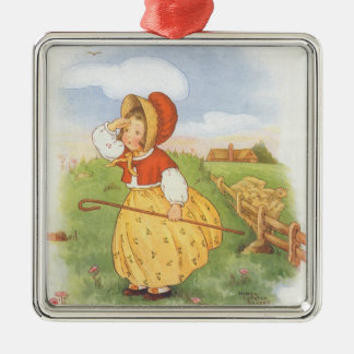 Vintage Little Bo Peep Mother Goose Nursery Rhyme Metal Ornament