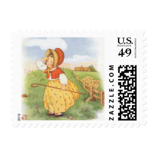 Vintage Little Bo Peep Mother Goose Nursery Rhyme Postage Stamp