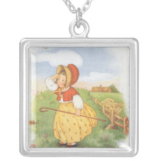 Vintage Little Bo Peep Mother Goose Nursery Rhyme Silver Plated Necklace