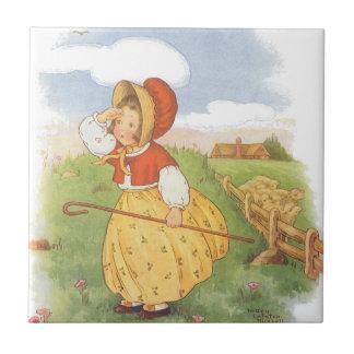 Vintage Little Bo Peep Mother Goose Nursery Rhyme Ceramic Tiles