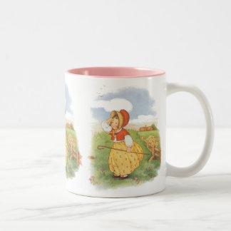 Vintage Little Bo Peep Mother Goose Nursery Rhyme Two-Tone Coffee Mug