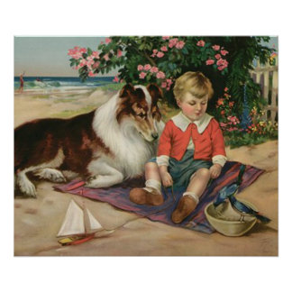 Vintage Little Boy, Collie and Bluebirds Poster