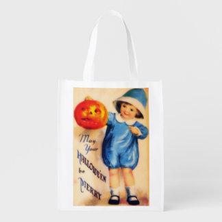Vintage Little Boy With Pumpkin Grocery Bag