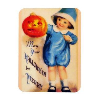 Vintage Little Boy With Pumpkin Magnet