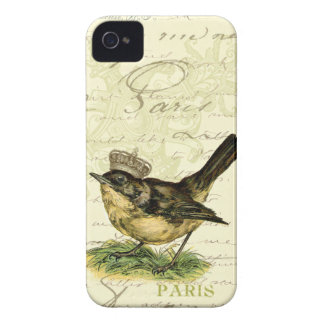 Vintage Little Brown Bird Mixed Media iPhone 4 Case
