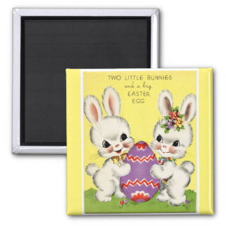 Vintage Little Bunnies and Easter Egg Yellow Magnet