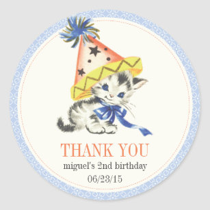 Vintage Little Cat With Party Hat Favor Classic Round Sticker