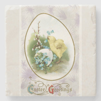 Vintage Little Chick and Egg Easter Stone Coaster