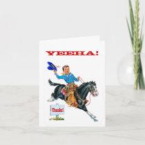 VIntage little Cowboy Thank You Card