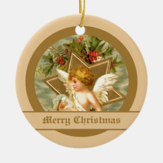 Vintage little cute Christmas angel and star Ceramic Ornament