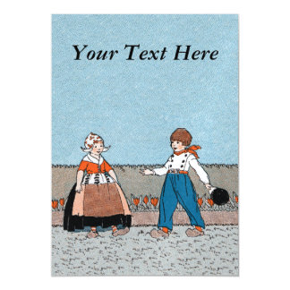 Vintage Little Dutch Girl Boy Traditional Dress Magnetic Invitations
