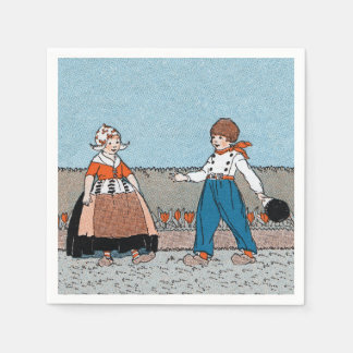Vintage Little Dutch Girl Boy Traditional Dress Napkin
