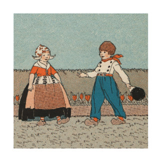 Vintage Little Dutch Girl Boy Traditional Dress Wood Prints