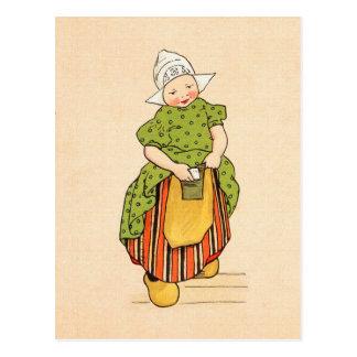Vintage Little Dutch Girl Postcard