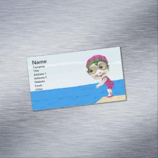 Vintage Little Girl 1930s Big Eyed Swimmer Business Card Magnet