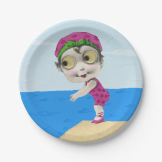 Vintage Little Girl 1930s Big Eyed Swimmer Paper Plate