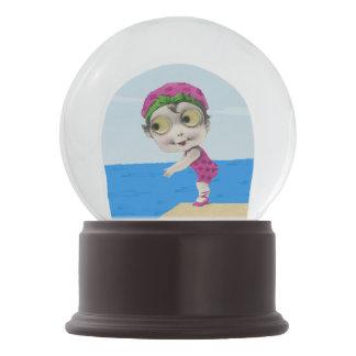 Vintage Little Girl 1930s Big Eyed Swimmer Snow Globes