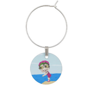 Vintage Little Girl 1930s Big Eyed Swimmer Wine Glass Charms