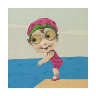 Vintage Little Girl 1930s Big Eyed Swimmer Wood Print
