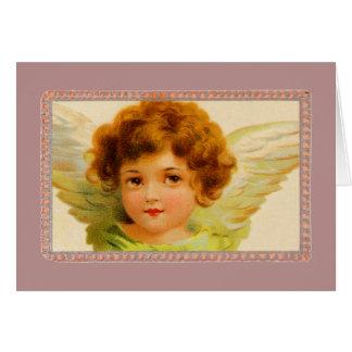 Vintage Little Girl Angel in Frame Card