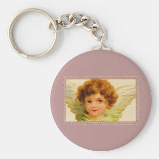Vintage Little Girl Angel in Frame Keychain