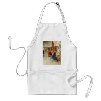 Vintage Little Girl at Spinning Wheel Adult Apron