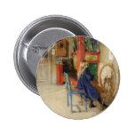 Vintage Little Girl at Spinning Wheel Pinback Button