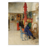 Vintage Little Girl at Spinning Wheel Greeting Card